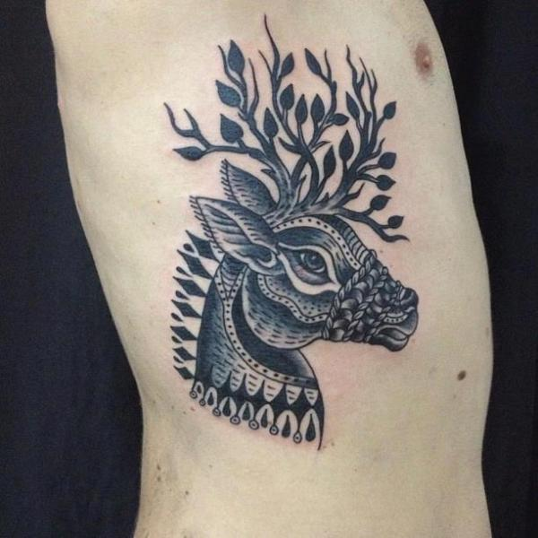 Old School Side Deer Tattoo by Carnivale Tattoo