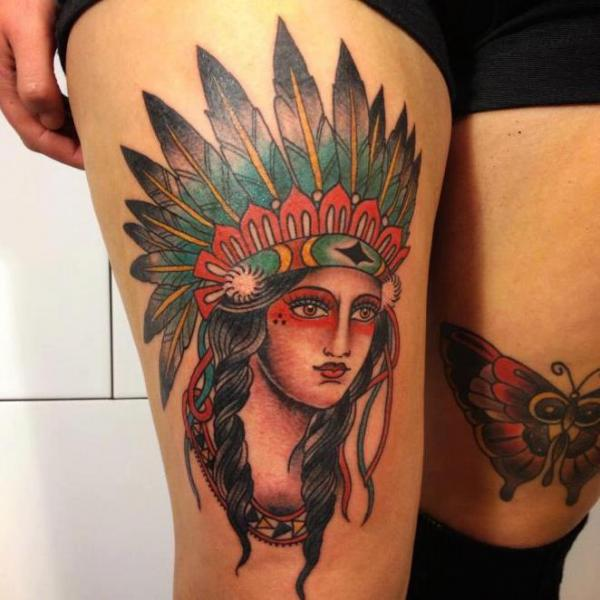 Old School Women Indian Thigh Tattoo by Carnivale Tattoo