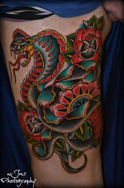 Snake Old School Thigh Tattoo by Carnivale Tattoo