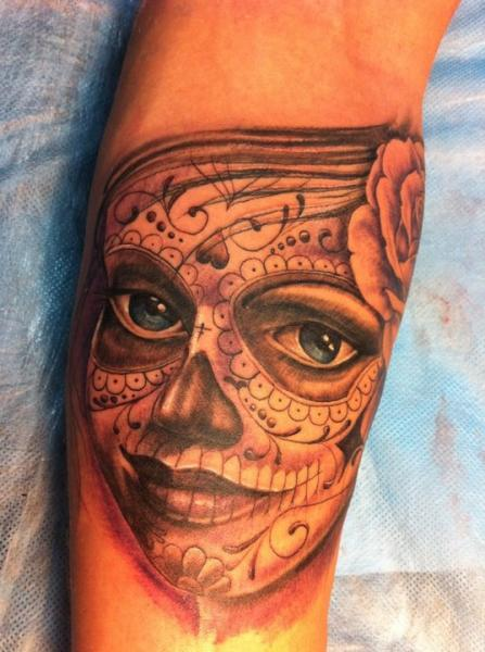Arm Mexican Skull Tattoo by Ibiza Ink