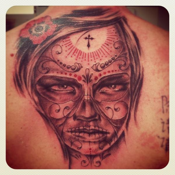 Mexican Skull Back Tattoo by Ibiza Ink