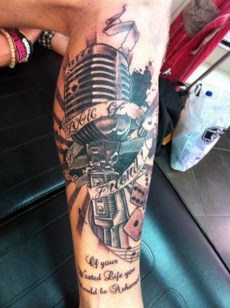 Realistic Calf Microphone Tattoo By Ibiza Ink