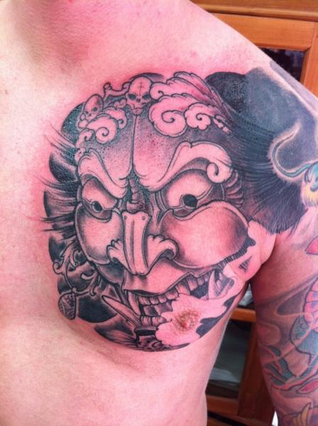 Chest Japanese Demon Tattoo by Ibiza Ink