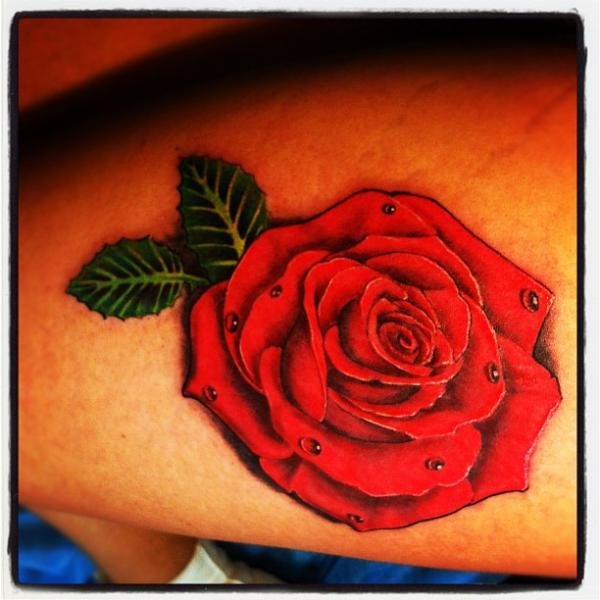 Realistic Flower Rose Thigh Tattoo by Ibiza Ink