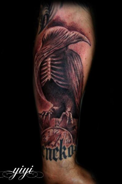 Arm Fantasy Crow Tattoo by Inkfierno Tattoo