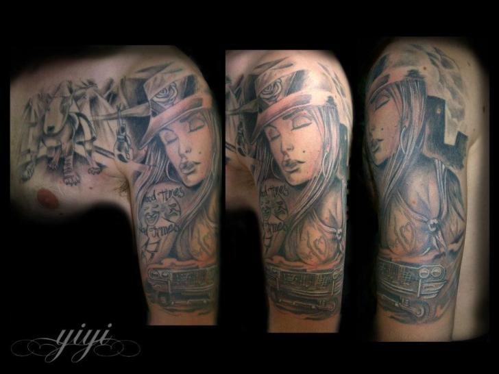 Schulter Realistische Frauen Tattoo von Inkfierno Tattoo
