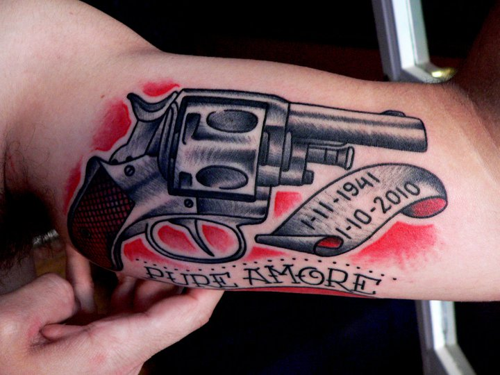 Arm Old School Gun Tattoo by Last Port