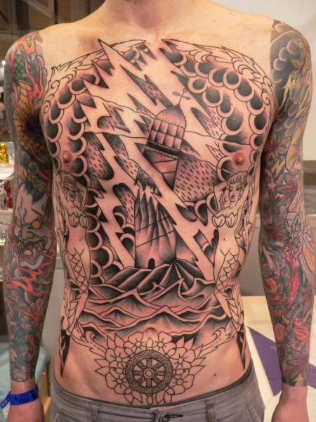 Lighthouse Chest Tattoo by Last Port