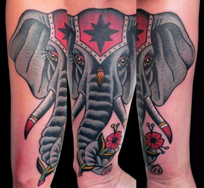 Arm Old School Elephant Tattoo by Last Port