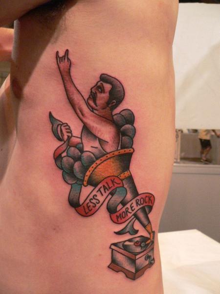 Fantasy Side Gramophone Tattoo by Last Port