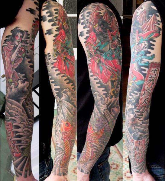 Japanese Samurai Carp Sleeve Tattoo by Last Port