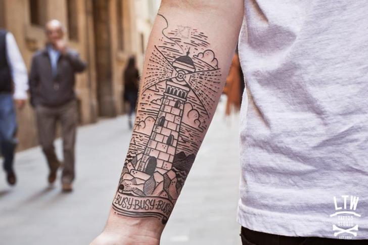 Arm Lighthouse Tattoo by LW Tattoo