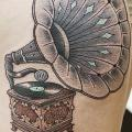 Thigh Gramophone tattoo by LW Tattoo
