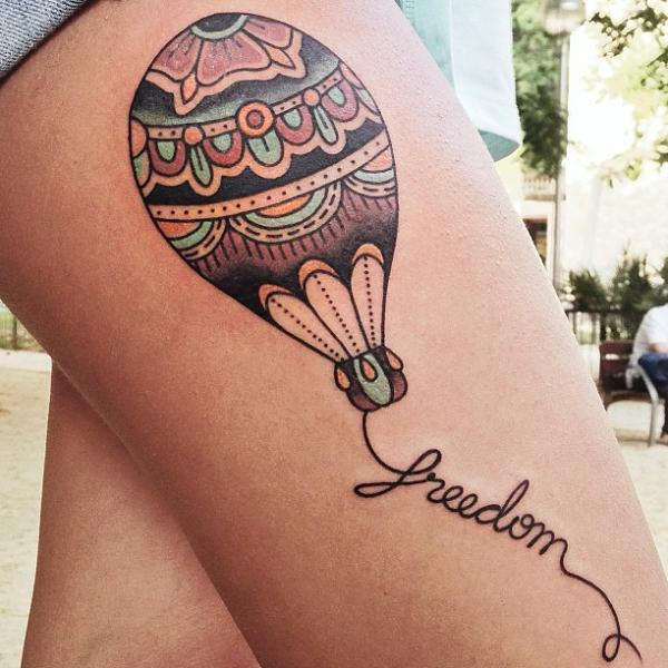 Old School Balloon Thigh Tattoo by LW Tattoo