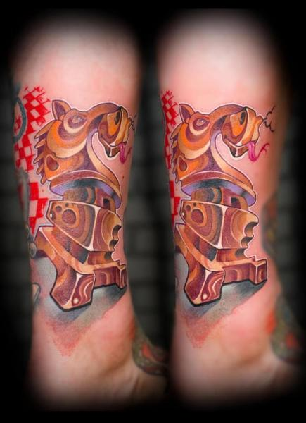Fantasy Calf Chess Tattoo by Punko Tattoo
