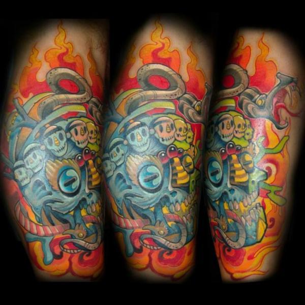 Fantasy Calf Skull Tattoo by Punko Tattoo