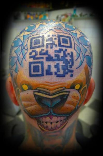 Fantasy Head Geometric Qr-Code Tattoo by Punko Tattoo