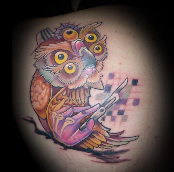 Shoulder Fantasy Owl Tattoo by Punko Tattoo