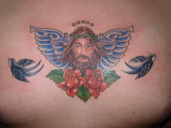 Tatuaż Jaskółka Jezus Przez Blue Tattoo