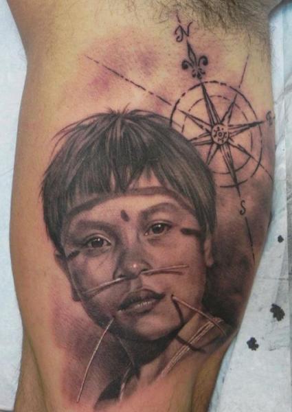 Arm Realistic Children Compass Tattoo by Xavi Tattoo