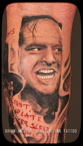 Arm Realistic Jack Nicholson Tattoo by Sink The Ink