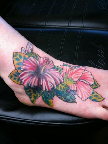 Foot Flower Tattoo by Sink The Ink