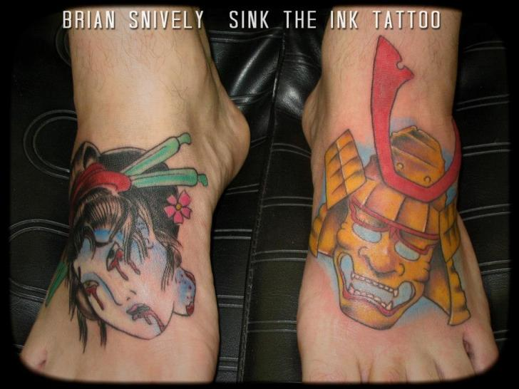 Foot Japanese Women Mask Tattoo by Sink The Ink