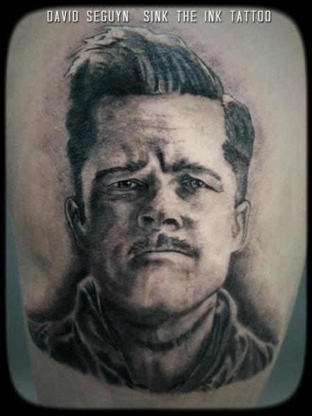 Realistic Brad Pitt Tattoo by Sink The Ink