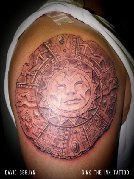 Shoulder Maya 3d Tattoo by Sink The Ink