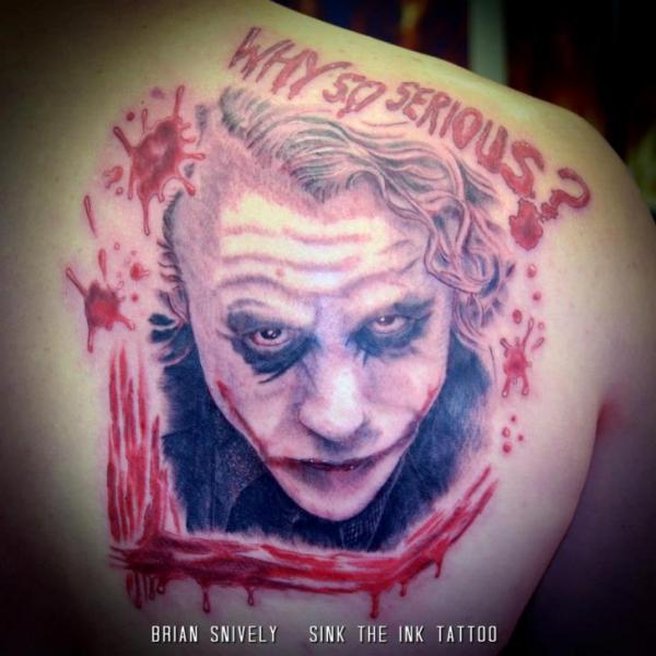 Shoulder Clown Blood Tattoo by Sink The Ink