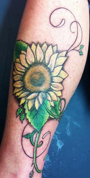 Arm Flower Tattoo by Sink Candy Tattoo