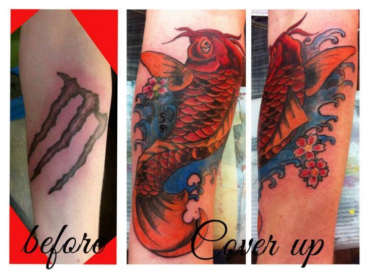 Tatuaggio Polpaccio Giapponesi Cover-up di Sink Candy Tattoo