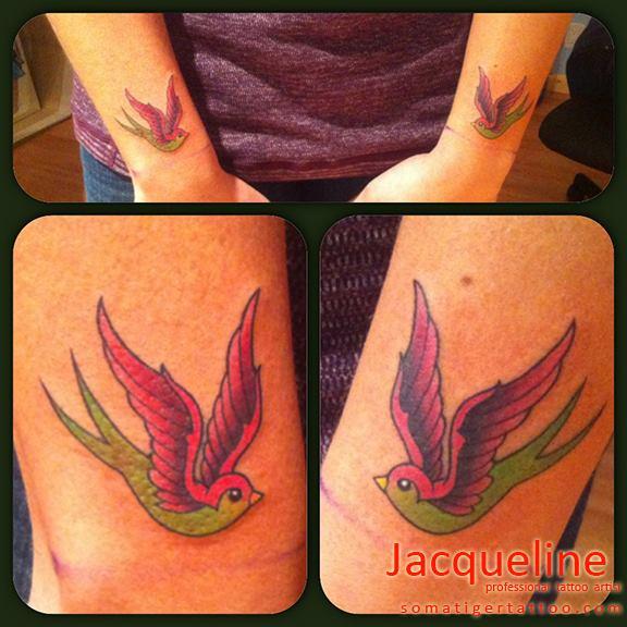 Arm New School Sparrow Tattoo by Soma Tiger Tattoo