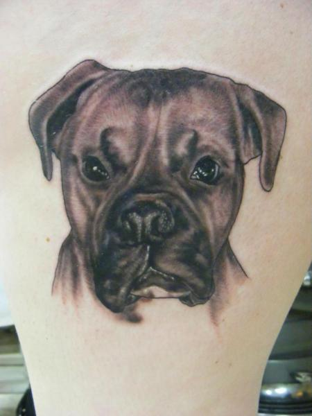 Arm Realistic Dog Tattoo by Sonic Tattoo