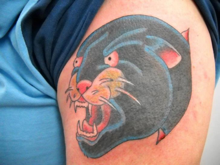 Shoulder New School Panther Tattoo by Sonic Tattoo