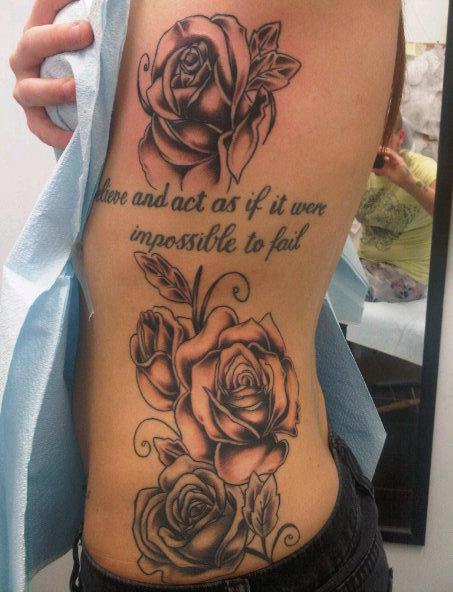 Flower Side Lettering Tattoo by Sonic Tattoo