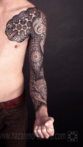 Arm Dotwork Sleeve Tattoo by Nazareno Tubaro
