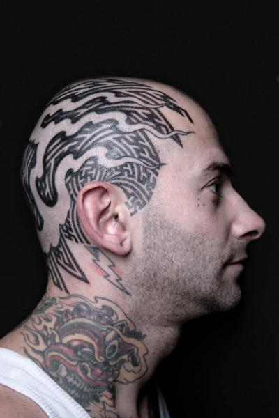 Head Dotwork Geometric Tattoo by Nazareno Tubaro
