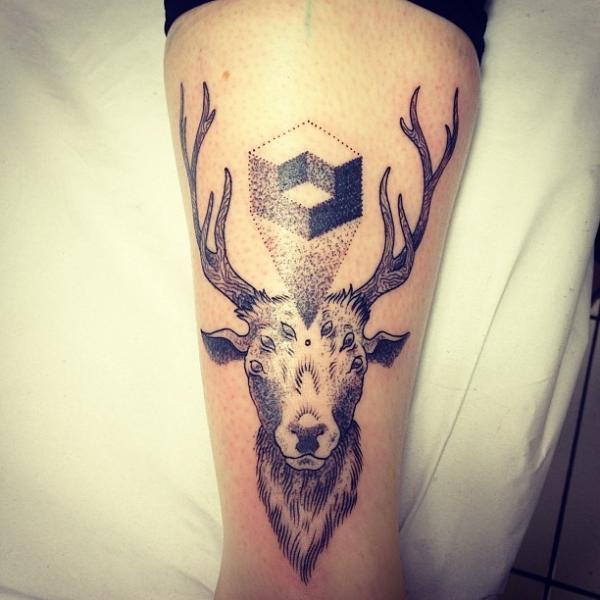 Arm Dotwork Deer Tattoo by Gregorio Marangoni
