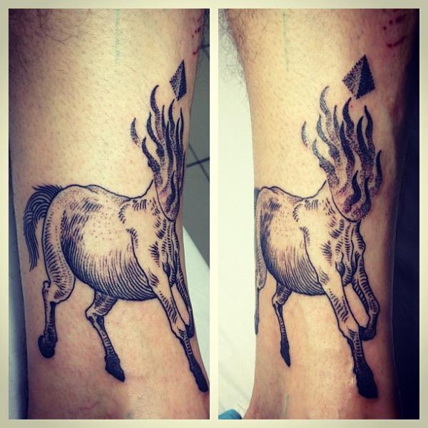 Arm Fantasy Dotwork Horse Tattoo by Gregorio Marangoni