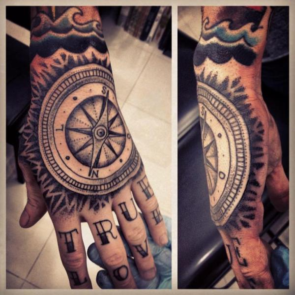 Hand Dotwork Compass Tattoo By Gregorio Marangoni