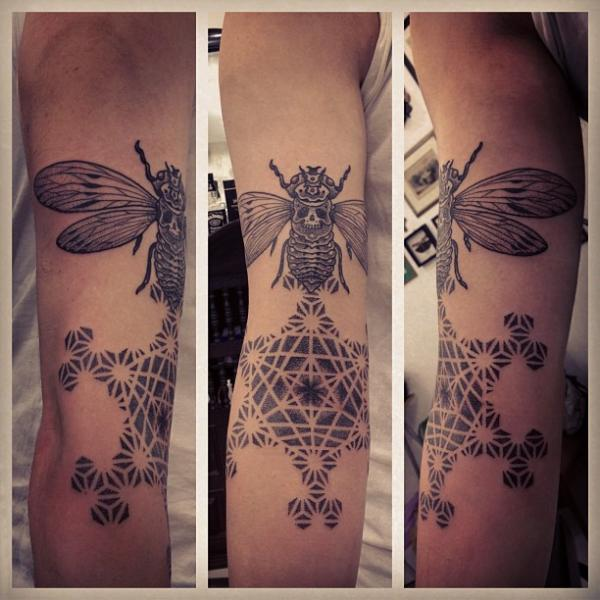 Tatuaggio Dotwork Falena Geometrici di Gregorio Marangoni