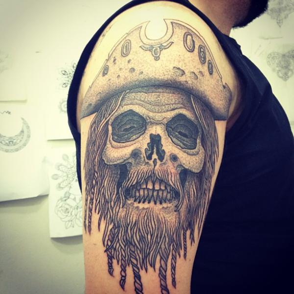 Shoulder Skull Dotwork Pirate Tattoo by Gregorio Marangoni