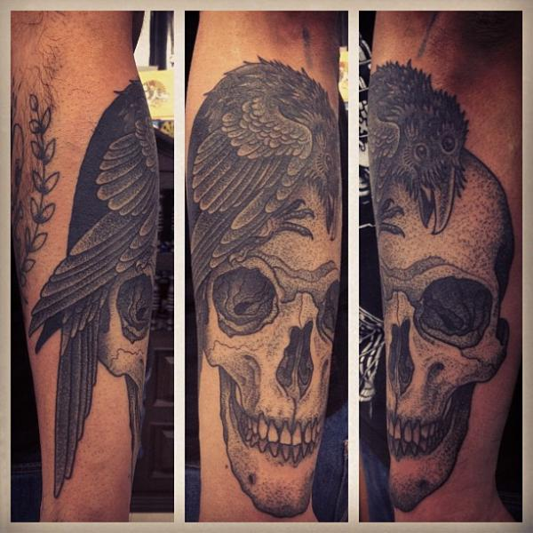 Skull Dotwork Crow Tattoo by Gregorio Marangoni