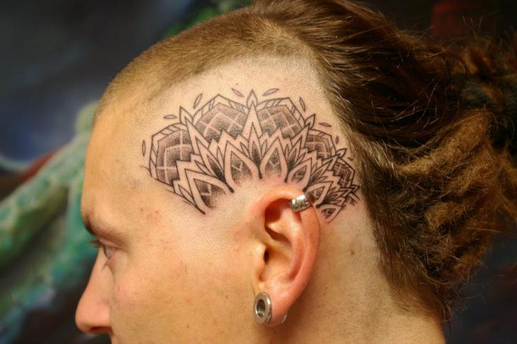 Head Dotwork Tattoo by Tartu Tatoo