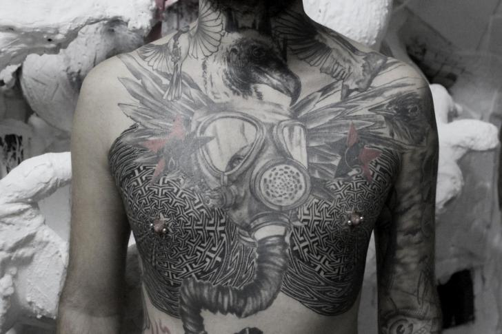 Chest Mask Dotwork Tattoo by Black Ink Power