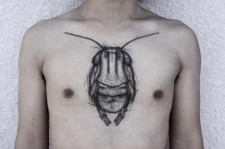 Chest Scrabble Dotwork Tattoo by Black Ink Power