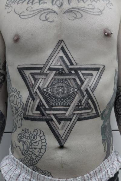 Star Belly Dotwork Tattoo by Black Ink Power