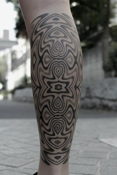 Calf Dotwork Tattoo by Black Ink Power