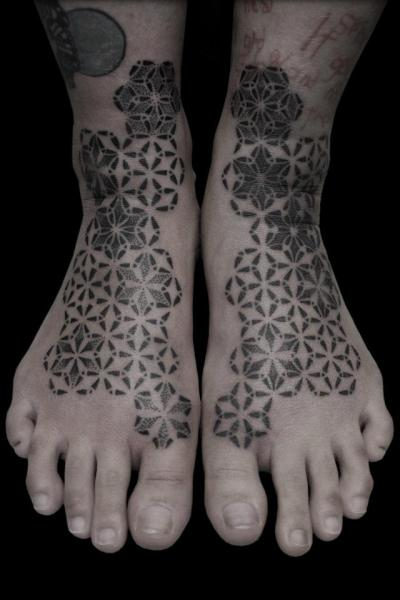 Foot Dotwork Tattoo by Black Ink Power